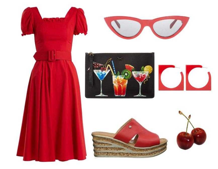 Odpowiednia sukienka do czerwonych butów
